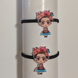 handcrafted Accessories - Six Hair Ties in Three Colors Frida Kahlo